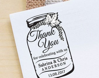 Custom Mason Jar Rubber Stamp, Self Inking Rubber Stamp, Wedding Invitation Stamp, Personalized Wedding Stamp, Save The Date Stamp HS222P