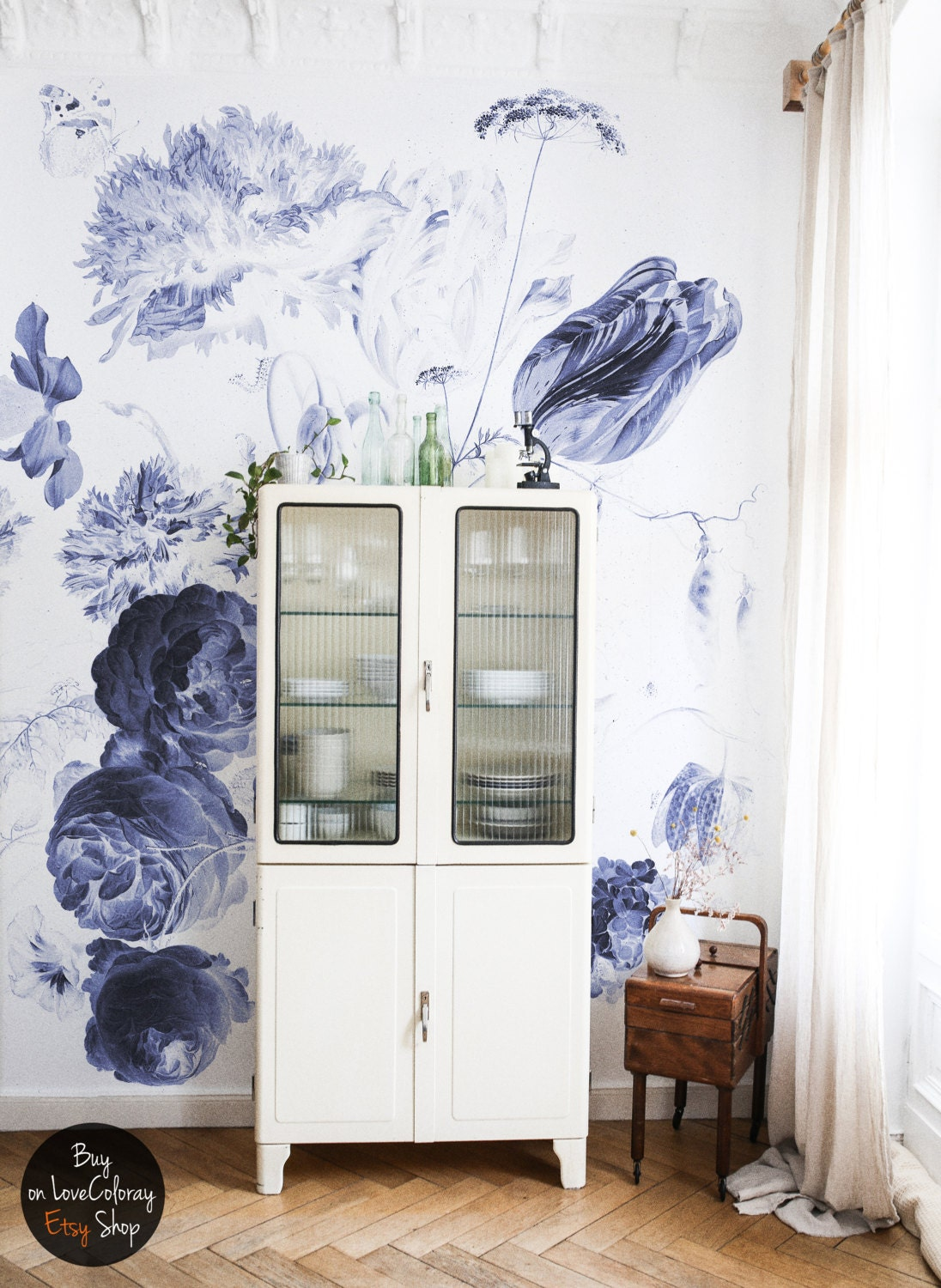 Peel And Stick Wall Decor Royal Blue Vintage Wallpaper Wall Mural Large Flowers Floral