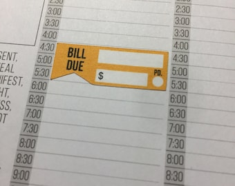 Bill Due Flag Strips in MultiColors for the Compact and Classic sized Passion Planner