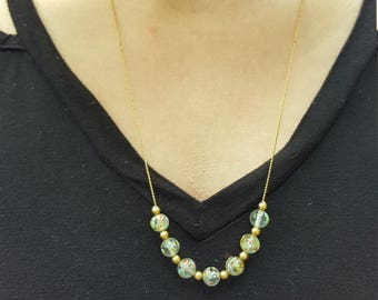Vintage Beaded Necklace Floral Gold Glass Beads Small Thin