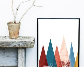 Deer Print, Scandinavian Wall Art, Printable Art, Scandi Art,  Mountain Print, Geometric Art, Wall Decor, digital download, Home Decor