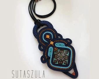 SALE Navy blue copper turquoise necklace Statement necklace soutache necklace OOAK collier soutache