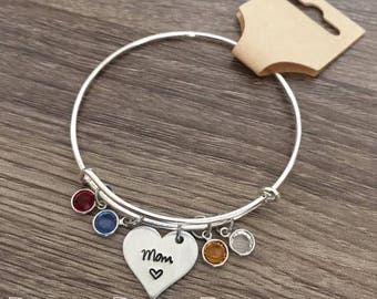 Mom birth stone bangle bracelet / Multiple birth stones / UP TO 10 birthstones / Mother's Day gift / Mom / Heart charm / Personalized gift