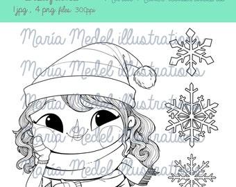 Copos de nieve y la NIÑA INVIERNO. Sello Digital de la Navidad. Descarga inmediata. Uso personal. Scrapbooking, tarjeta que hace, página para colorear