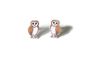 Barn Owl Earrings, Owl Stud Earrings, British Bird Jewellery