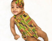 Kente Baby Romper, Black History Month, African, Girls Romper, Head Wrap, Tribal, Hipster, African Baby Clothes, Baby Romper, Newborn Romper