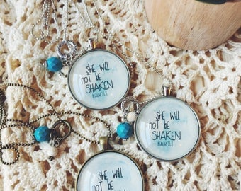 Words on Necklace, Psalm 16:8 Necklace, She will not be shaken Necklace, Bible Verse on Necklace, Sentimental Necklace
