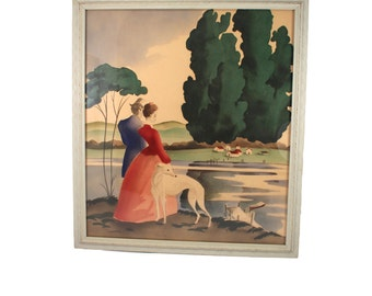 "Vintage original watercolor painting - man, woman, couple, Grayhound dog, landscape, signed ""Bernard"", 1940s, 1950s, mid century - pretty!"