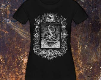 THE SERPENT - Women's T-Shirt // Garden of Eden // Snake & Heart // Apple and Dagger // Gothic Tee // Halloween Shirt (Ready To Ship!)