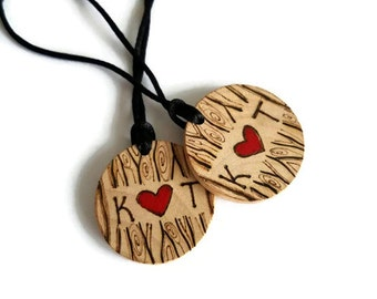 custom couples necklaces, matching necklaces, couples gift set, his and hers gift, cute couples gift, custom wood necklaces, gift for him
