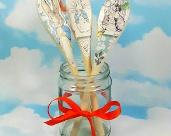 Decoupaged Spoons, Peter Rabbit, Baby Shower Gift, Peter Rabbit Nursery, Beatrix Potter, Decorative Spoons, Set of 3, Peter Rabbit Spoons