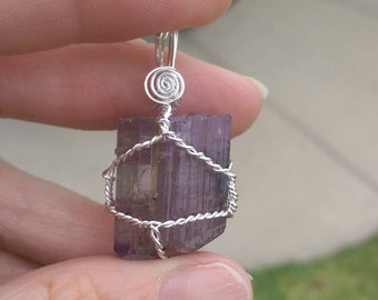 Natural, terminated scapolite sterling silver wire wrapped pendant 34.8 carats