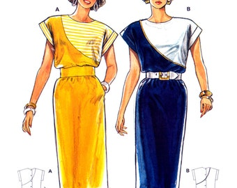80s Burda 5993 Short Raglan Sleeved Dress with Contrast Asymmetrical Front, Uncut, Factory Folded, Sewing Pattern Multi Plus Size 10-40