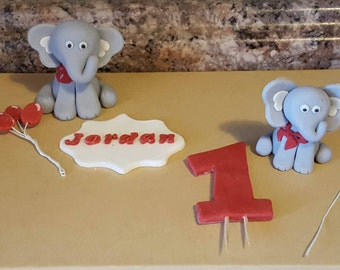 Little Elephant Cake Topper, Baby Shower or Birthday Customizations, Elephant Birthday Cake Topper Set