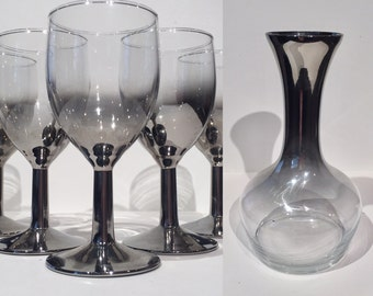 Ombre Metallic Wine Carafe and Glasses, Decanter and Wine Glasses, Mid Century Barware, Silver Glass Wine Decanter Stemware