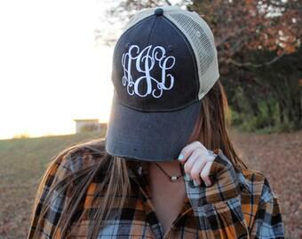 Monogrammed Trucker Hat - Monogrammed Hat - Women's Hat - Trucker Hat - Monogram Trucker Hat - Ladies Hat - Monogram Hat - Cap