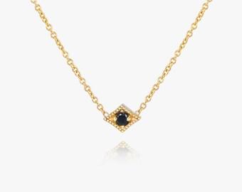 Diamond Solitaire Necklace, Black diamond Necklace, solid gold necklace, gold diamond necklace