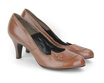 50s Brown Leather Pumps - Brown High Heels - Size 10 to 10.5