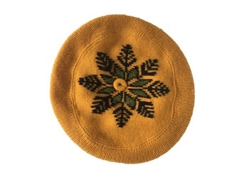 Vintage Mustard Yellow Hat Vintage Beret Knit Beret Snowflake Hat Winter Beret 60s Hat 60s Beret Vintage Slouchy Hat Vintage Tam