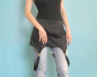 Skirt belt, Fashion belt, Semi fitted skirt, Party belt, Black belt, Gothic belt, Hips wrap belt, Mini black skirt