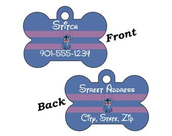 Disney Stitch 2-SIDED Pet Id Tag for Dogs and Cats Personalized w/ 4 Lines of Text