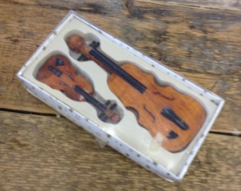 Vintage Treen Wooden Miniature Boxed Violin & Cello / Double Bass Possibly Dolls House Furniture - Quirky Items.