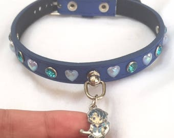 """11.5-13"""" Blue Magical Girl Buckled Faux Leather Collar"""