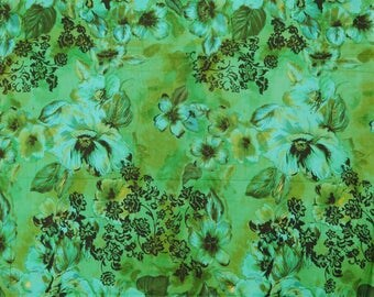 "Dress Fabric, Home Decor Fabric, Floral Print, Green Fabric, Sewing Accessories, 42"" Inch Cotton Fabric By The Yard ZBC7366A"