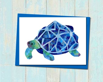 Tortoise greeting card, Custom colours, Tortoise birthday card, Blank card, Tortoise card for friend, Cute animal greeting card, Cute card