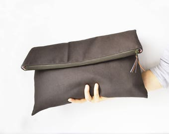 Fabric clutch bag Large clutch Fold over clutch, Oversize textile bag Evening clutch large Zip clutch Oversize bag Evening canvas bag Clutch