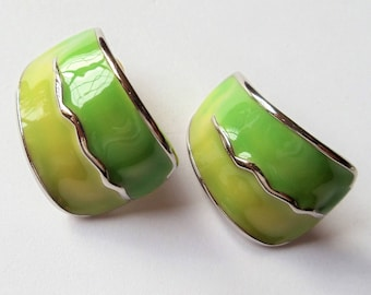 Vintage Enamel Green Earrings, Shades of Green Enamel Silver Tone Metal Earrings, Pierced Earrings, Gift For Her, 1970s'