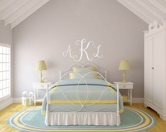 Stylish Monogram Wall Decal, Vine Monogram Wall Decal, Dorm Wall Decal, Monogram Wall Decal, Vinyl Wall Monogram, Monogram Wall Sticker