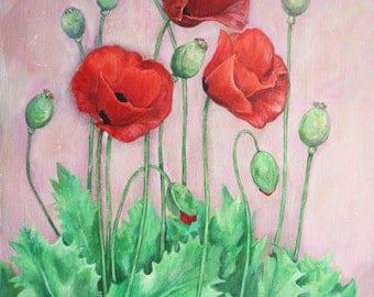 Original painting| Poppy paiting| Acrylic painting| Flower painting| Floral painting| Painting on canvas| Midsummer