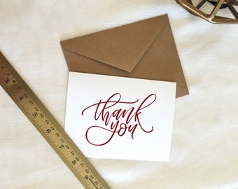 Handlettered 'Thank You' Greeting Card | Single or Pack of 5