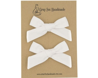Solid White Hand-Tied Bow // Pigtail Set