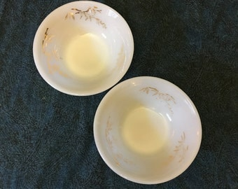Vintage Federal Glass Golden Glory Fruit or Dessert Bowls, Gold Bamboo Milk Glass