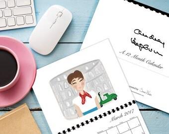 Audrey Hepburn 2017 Illustrated Calendar | 12 Month