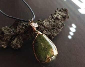 Unakite and Herkimer Diamond Necklace, Unakite Necklace