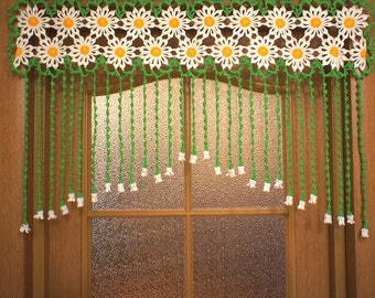 Crochet curtain at the doorway Camomiles, crocheted curtain door Camomiles, door decor