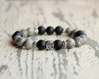 gifts for men jewelry man bracelets grey black matte bracelet bead accessory for him husband birthday trendy dad gifts power bracelet cross