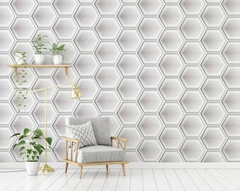 Hexagon 3D Wallpaper, White and Grey Wallpaper for Home and Business Interior Design