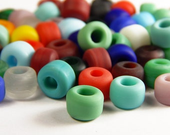50 Pcs - 9x8mm Multicolor Matte Glass India Crow Beads - Crow Rollers - Glass Pony Beads - Jewelry Supplies