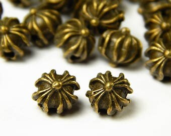 10 or 25 Pcs - 8x8mm Antique Bronze Spacer Beads - Bronze Metal Spacer Beads - Celtic Cross Beads - Jewelry Supplies