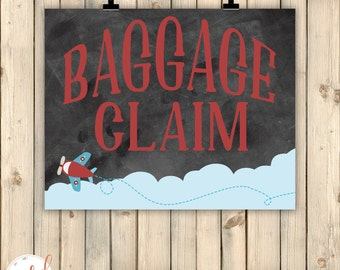 Vintage Airplanes Birthday Party Chalkboard Sign, Baggage Claim, Vintage Travel Party Theme Decor, Vintage Travel Baby Shower Decor, Digital