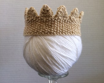 Knitted Royal Baby Crown, Knitted Baby Crown Photo Prop, Gold Newborn Crown, Prince or Princess Knitted Crown, Baby Photo Prop