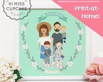Illustrated Family Portraits // Valentine Day Gift for Her Personalized Gift Custom Portrait Gifts For Family Illustration (Digital File)