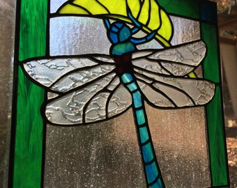 "Dragonfly Stained Glass 10"" x 11"""