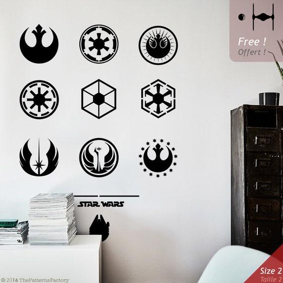 star wars emblems wall decal star wars logo emblem decal. Black Bedroom Furniture Sets. Home Design Ideas