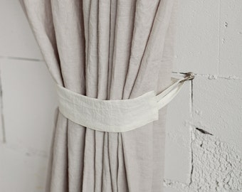Linen curtain tie back, stonewashed. 12 colours, custom sizes.