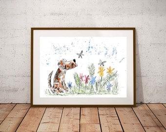 SALE Dog PRINT, watercolour print, dog illustration, art print, dog lover gift, dog painting, dog wall art